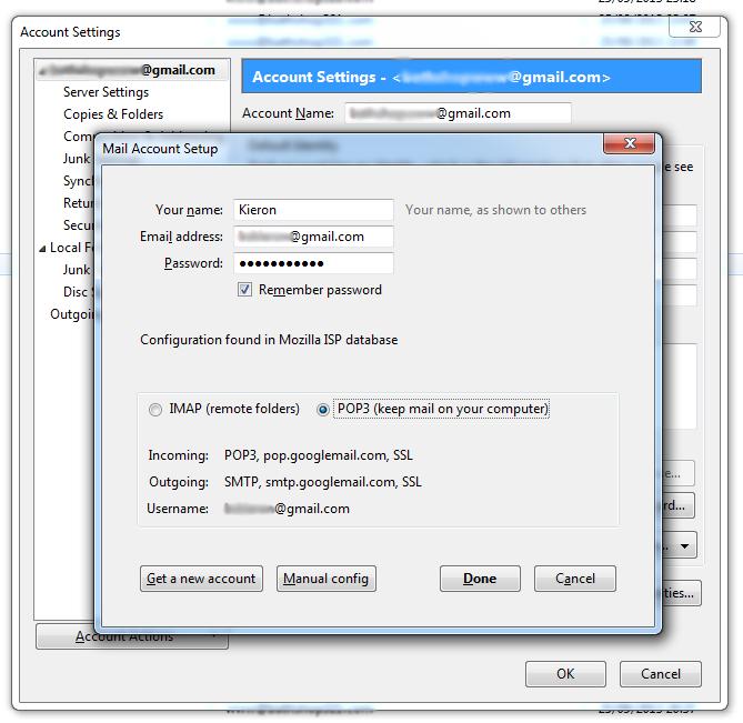 Add new Gmail account to Thunderbird
