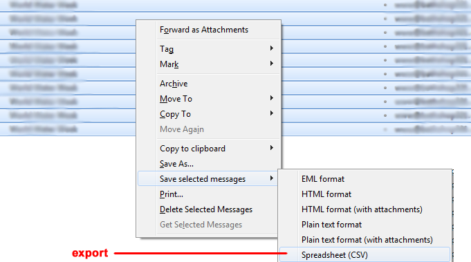 Click to export Gmail messages to Excel CSV