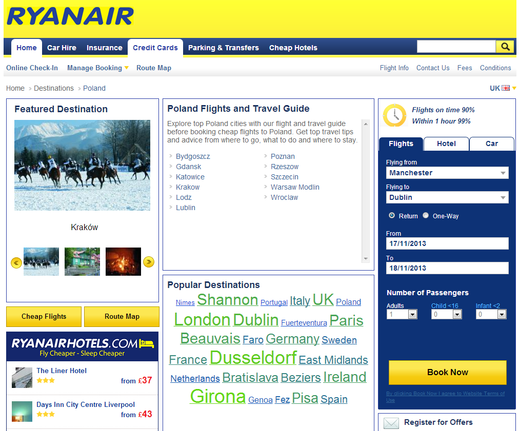 Poland Country Page - New Ryanair Website 2013