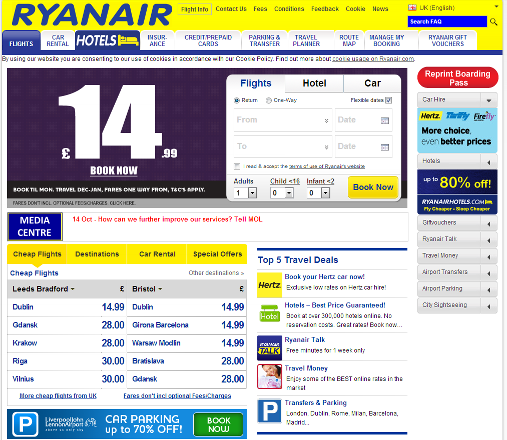 Previous Ryanair Website - November 2013