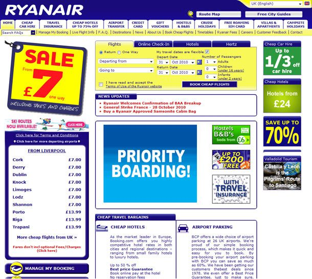 Old Ryanair Website - 2011