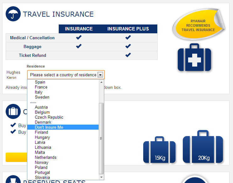 Adding Travel Insurance - Ryanair November 2013