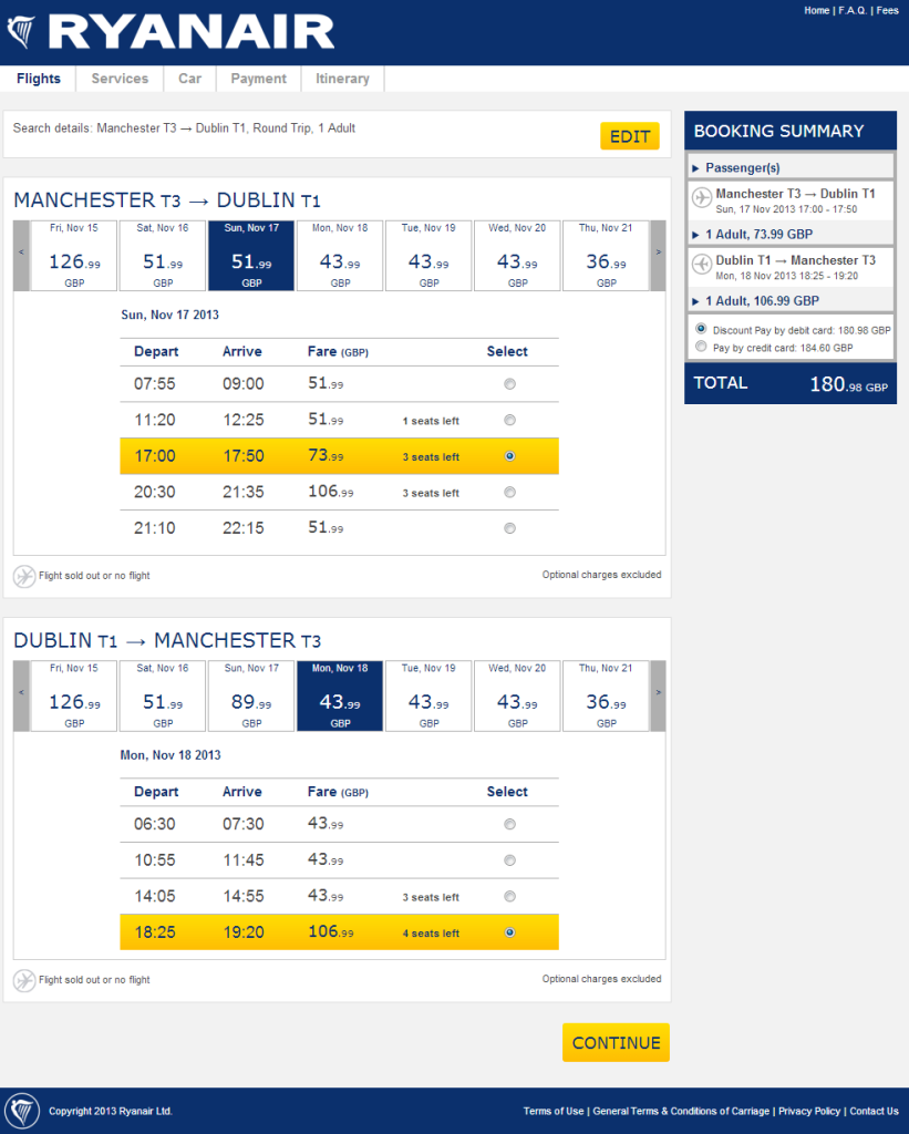 Ryanair Booking Process - Stage 1 - November 2013