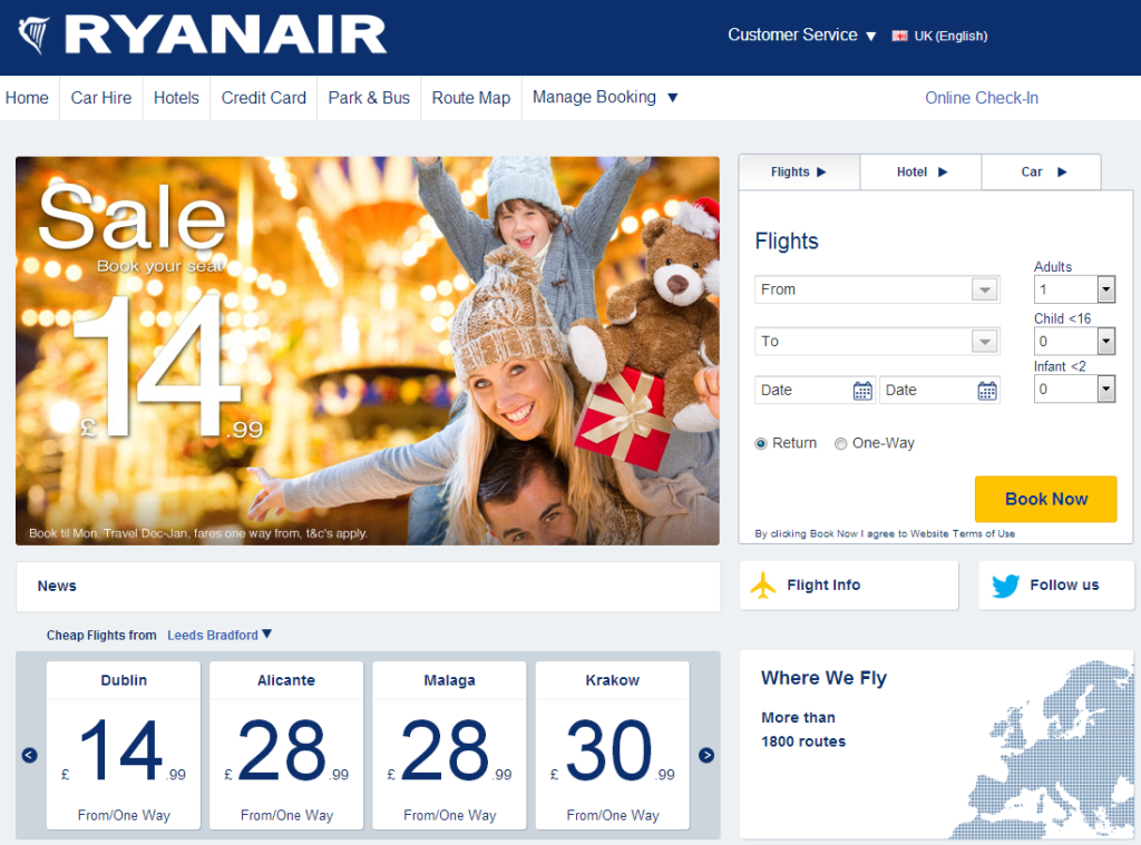 New Ryanair Homepage - November 2013