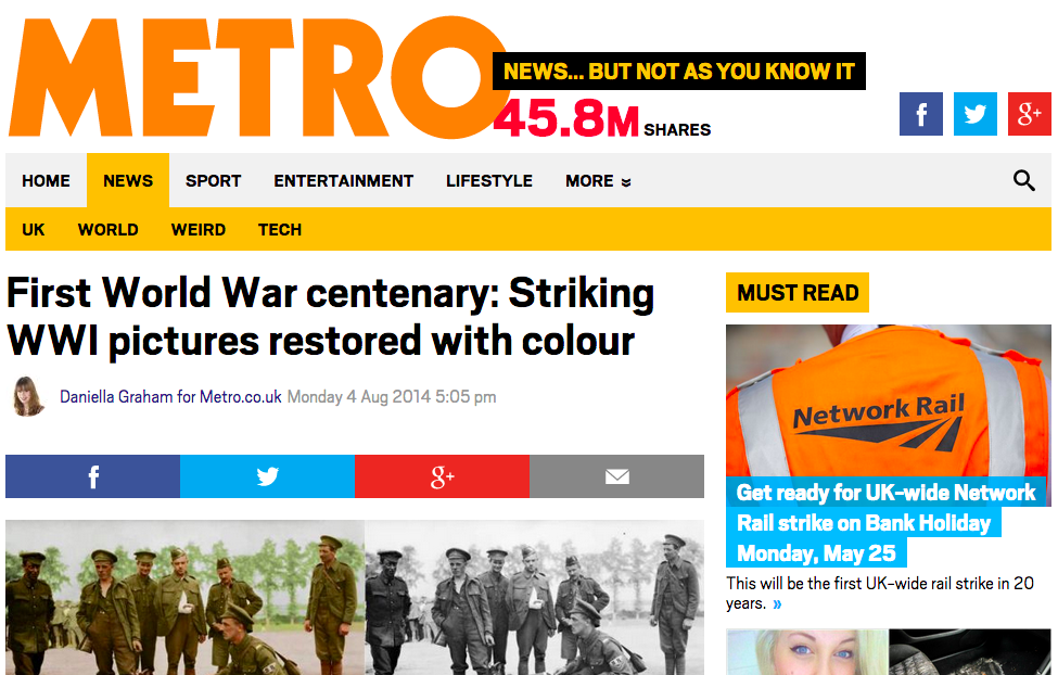 The Metro - WW1 Centenary coverage