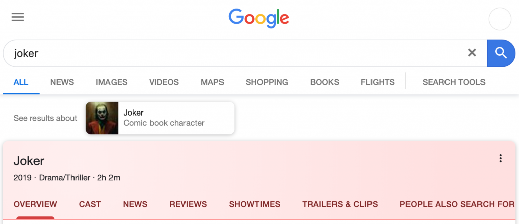 Google's mobile search results for Movie searches